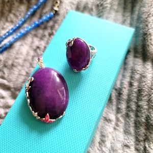 Purple stone pendant and ring in 925 setting